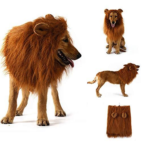 🥇 Disfraz de melena de león para perros y gatos medianos a grandes Peluca de melena de león realista realista divertida para mascotas con orejas Ropa para Halloween Fiesta de cosplay Disfraces