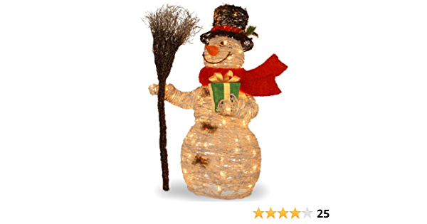 Amazon Com National Tree 35 Inch White Ratton Snowman Holding Gift And Broom With 70 Clear Outdoor Lights Mzwr 35lo Home Kitchen