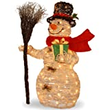 National Tree 35 Inch White Ratton Snowman Holding Gift and Broom with 70 Clear Outdoor Lights (MZWR-35LO)