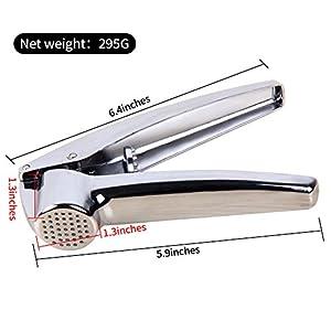 Fireyu Garlic Press Stainless Steel Cloves Ginger Crusher/Mincer Heavy Duty Peeler for Kitchen (Silver)