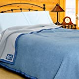 Poyet Motte Aubisque 500GSM Heavyweight 100-Percent Wool Blanket (Twin, Blue/Lt Blue)