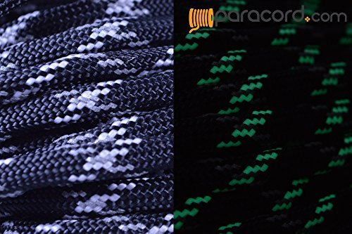 BoredParacord Brand 550 lb Reflective & Glow in The Dark Tracer Black Paracord (50 feet)