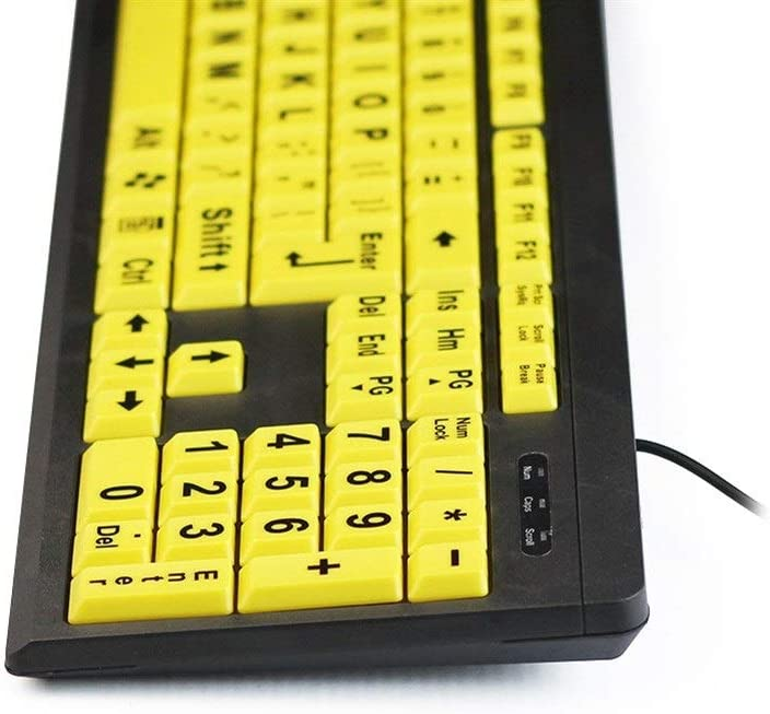 Yellow USB Wired Keyboard ZHONGYUE Large Letter Button Keyboard Color : Black Old Man Special Keyboard Special Crowd Dedicated Keyboard