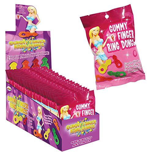 Hott Products Gummy Finger Ring Dongs -12 Count Display by Hott Products