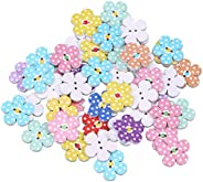TENDYCOCO 50 Pcs 2cm 2 Holes Wooden Buttons for Craft Colorful Flowers DIY Buttons for Baby Sweater Sewing Cra