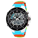 Digital Sports Watch - SKMEI Analogue-Digital 5ATM Date Army Mens Women Luxury Sports Watch color:Blue Colored Ribbons