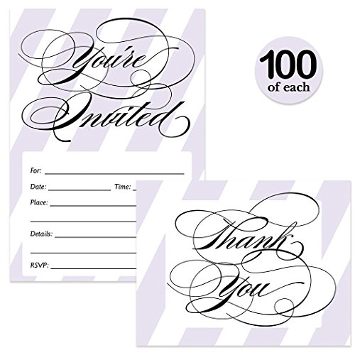 All Occasion Invitations 100 Thank You Notes Matching Set With Envelopes Lilac Lavender Stripe