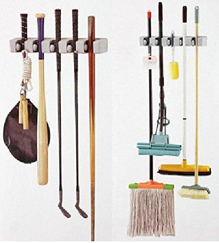 Ontime Mop And Broom Holder, Multipurpose Wall Mounted Organizer Storage Hooks, Ideal Broom Hanger For Kitchen Garden And Garage