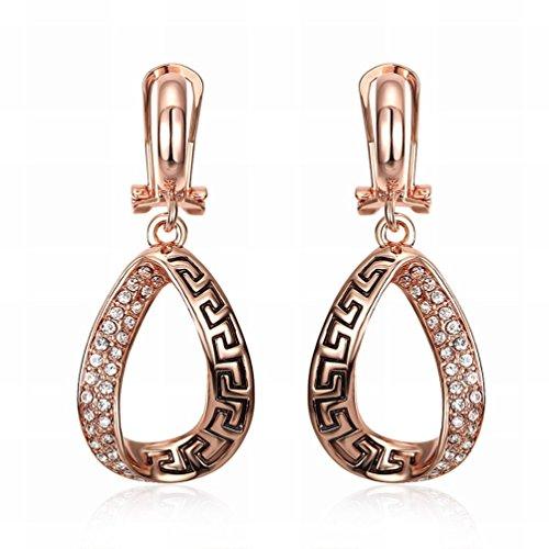 MOMO Fashion K Or en Forme de Goutte Boucles D'oreilles en Diamant Boucles D'oreilles Femme Rose Or / Acier Inoxydable / Anti-allergie / Argent Clignotant / Diamants