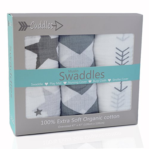 Muslin Swaddle Blankets| 100% Soft Organic Cotton Newborn Baby Blanket| Gray Chevron, Arrow, Star Combo Set | Receiving Blankets Girl or Boy | Baby Shower Gift ()