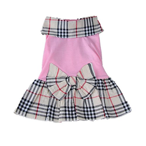 HKAUS Pets Grid Dress Cat Bow Tutu Pink Skirt for Little Dog (S)