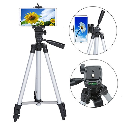 (50 Inch Phone Tripod, Aluminum Camera iPhone Tripod with Universal Tripod Phone Mount, Carrying Bag Included)