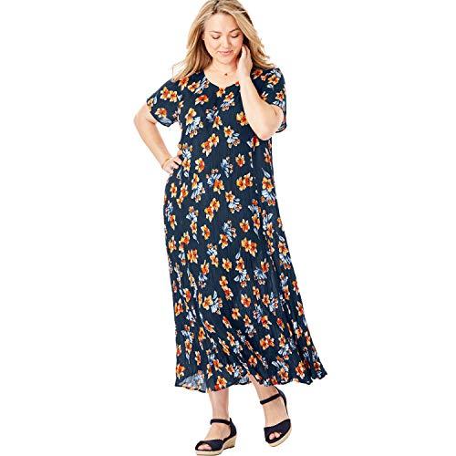 Woman Within Women's Plus Size Petite Crinkle Dress - 1X, Navy Bouquet Floral