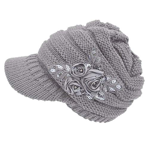 NYKKOLA Women Cable Knit Winter Warm Beanie Hats Newsboy Cap Visor with Sequined Flower - Grey