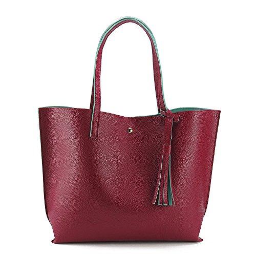 Flowertree Women's Grain Synthetic Leather Fringe Detail Tote Shoulder Bag (red) Fringe Detail Leather