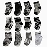 CIEHER 12 Pairs Baby Non-Skid Ankle Cotton Socks with Grip Baby Socks 6-24 Months Infant Grip Socks Sock Shoes Baby, 12 Colors