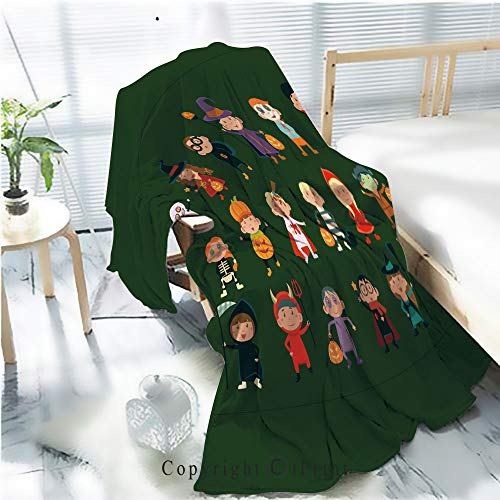 Printed Soft Blanket Premium Blanket,Flat Vector Set with Cute Children in Festive Costumes Funny Little Boys and Girls Celebrating Halloween Microfiber Aqua Blanket for Couch Bed Living Room,W59.1 ()