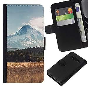 JackGot ( Mountain Field Scenery ) Samsung Galaxy Core Prime la tarjeta de Crédito Slots PU Funda de cuero Monedero caso cubierta de piel