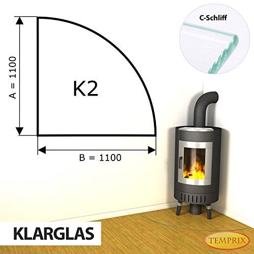 Kaminbodenplatte Funkenschutz ESG Glas Klarglas verschiedene Formen Kamin K2 - 1.100 x 1.100 x 6 mm