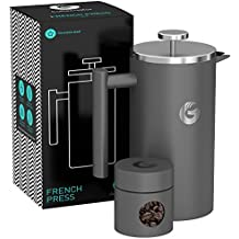 Large French Press Coffee Maker – Vacuum Insulated Stainless Steel, 34 floz, Grey