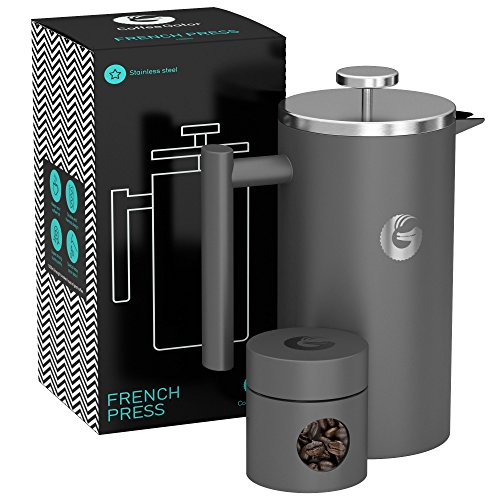 Large French Press Coffee Maker – Vacuum Insulated Stainless Steel With Double Filter, Travel Canister and eBook – By Coffee Gator, 34floz, Gray