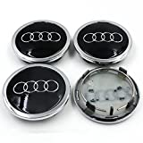 Automelody 4pcs A Set Of Wheel Center Caps Hubcap For Audi A3 A4 A5 A6 A8 Allroad Q3 Q5 Q7 Quattro R8 RS4 RS5 RS6 RS7 S3 S4 S5 S6 S8 TT (black)