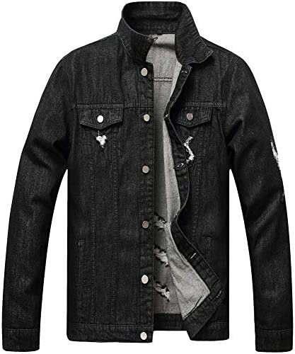 WINLIEBA Classic Ripped Jean Jacket for Men,Denim Jackets for Men with Patches