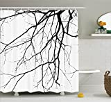 House Decor Shower Curtain Set by Ambesonne, Close Up Shot of Leafless Winter Tree Branches Idyllic Twigs of Oak Nature Print, Fabric Bathroom Decor with Hooks, 84 Inches Extra Long, Black and White