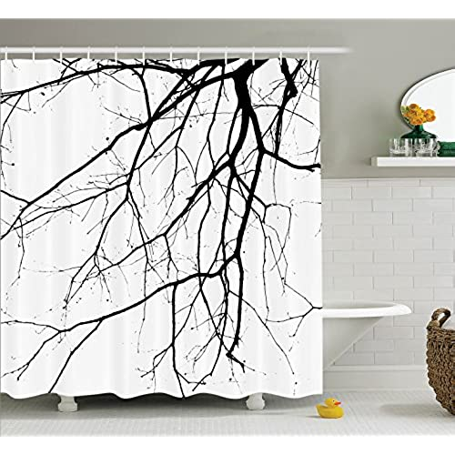 House Decor Shower Curtain Set by Ambesonne, Close Up Shot of Leafless  Winter Tree Branches Idyllic Twigs of Oak Nature Print, Fabric Bathroom  Decor with ...