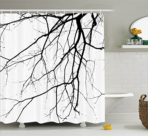 Ambesonne House Decor Shower Curtain Set, Close Up Shot of Leafless Winter Tree Branches Idyllic Twigs of Oak Nature Print, Fabric Bathroom Decor with Hooks, 84 Inches Extra Long, Black and White
