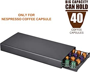 ALLOMN Coffee Capsules Storage Drawer Holder, for Nespresso Coffee Capsules, 40 Pod Holder Coffee Machine Stand Coffee Capsule Bracket Base Stable & Anti-Slipping Strong Iron Structure (Style A)