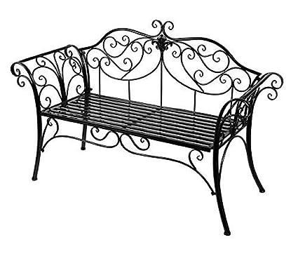 HLC 133*49*90 cm Metall Bank Gartenbank Ruhebank Doppelte Sitz mit Rücken aus Eisen Schwarz