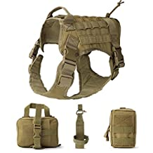 UKCOCO Tactical Service Dog Vest Water Resistant Comfortable Military Patrol Dog Harness Suit with Kettle Set Sundries Bags and Commuter Bag Size L (Brown)