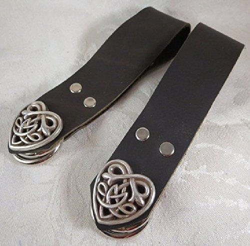 Handmade Black Leather Celtic Heart Skirt Hikes Set of 2