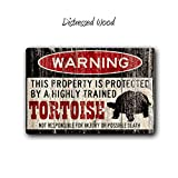 Fhdang Decor Tortoise Sign,Funny Metal Signs,Tortoise Gift,Tortoise Accessories,Tortoise Warning Sign,Pet Gift, Small Pet,Metal Sign,SS1_078