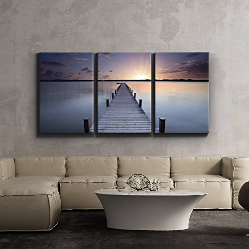 Print Contemporary Art Wall Decor Meditative calm lake scene with jetty Giclee Artwork Gallery ped Wood Stretcher Bars x3 Panels