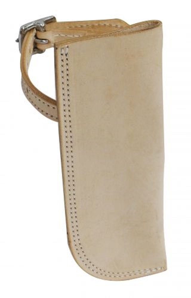 Leather Flag Carrier Holder. Light Oil. Attaches with Buckle Around Stirrup
