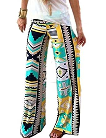 NQ Women Vintage Printed Wide Leg Palazzo Loose Pants Trousers 1 M