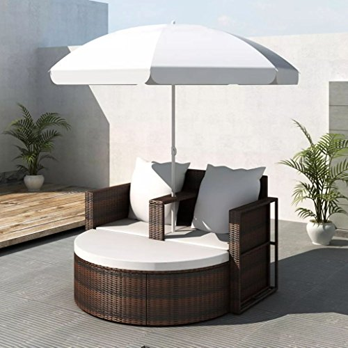 Outdoor Daybed, Chaise Longue Rattan with Umbrella, Pool Lounge Chairs with Cushion for Patio, Garden (Bed Lounge Day)