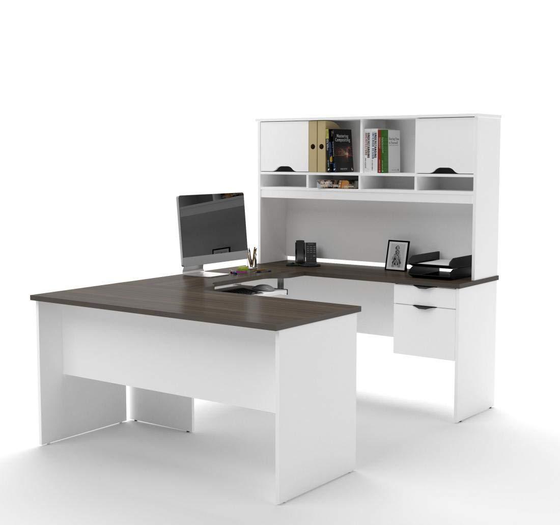 Bestar U-Shaped Desk with Dual Half Pedestal and Hutch - Innova by Bestar