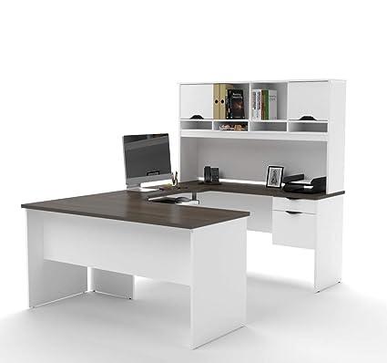 Amazon.com: Bestar U Shaped Desk With Dual Half Pedestal And Hutch    Innova: Kitchen U0026 Dining