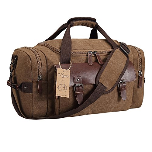 9383eacb3083 Ulgoo Canvas Leather Weekender Overnight Travel Duffel Bag - Import ...