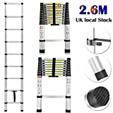 Extension Foldable Telescopic Ladders - High Quality Aluminum Straight Style Climb Telescopic Ladder Extendable Steps (2.6M)