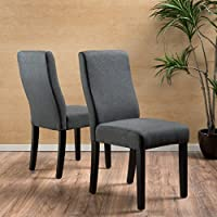 Christopher Knight Home 299505 Corbin Fabric Dining Chair (Set of 2), Dark Gray