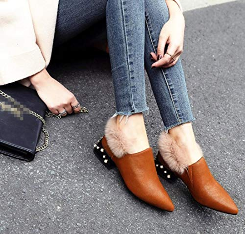Comfort DANDANJIE Casual For amp; Slip Shoes Winter Pointed Loafers Low Brown Toe Ons Women's Heel qwSxwC1rt