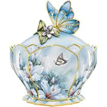 The Bradford Exchange Heirloom Hibiscus Harmony Porcelain Jeweled Music Box With Butterfly Handle By Lena Liu