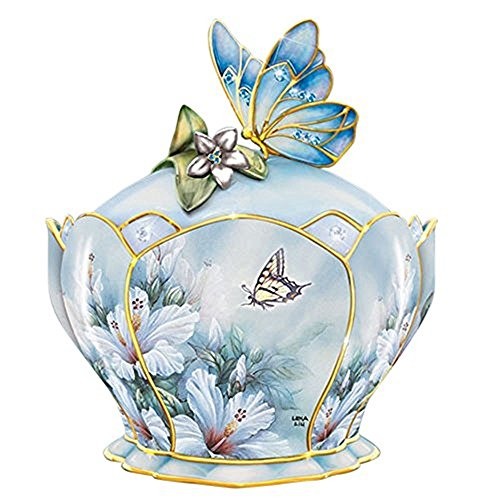 The Bradford Exchange Heirloom Hibiscus Harmony Porcelain Jeweled Music Box With Butterfly Handle By Lena - Heirloom Porcelain