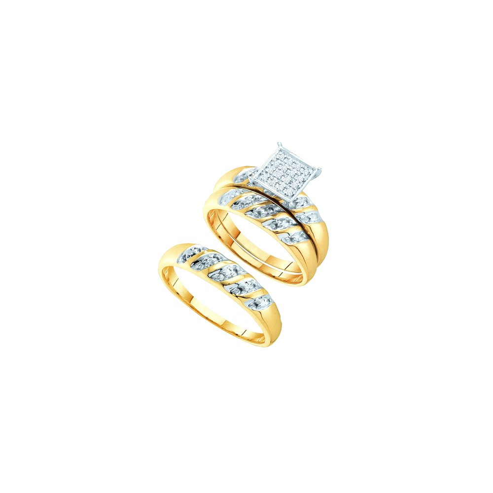 Sizes - L = 7.5, M = 12 - 14k Two-tone Gold Trio His & Hers Round Diamond Cluster Matching Bridal Wedding Ring Band Set 1/12 Cttw