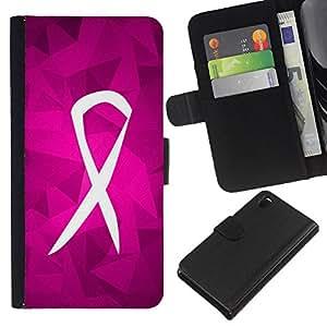 Lucha Soporte púrpura rosada Caridad- la tarjeta de Crédito Slots PU Funda de cuero Monedero caso cubierta de piel Para Sony Xperia Z3 D6603