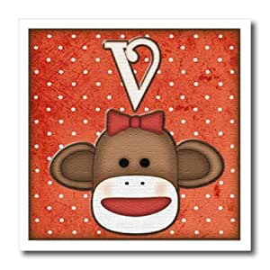 ht_102825_2 Dooni Designs Monogram Initial Designs - Cute Sock Monkey Girl Initial Letter V - Iron on Heat Transfers - 6x6 Iron on Heat Transfer for White Material